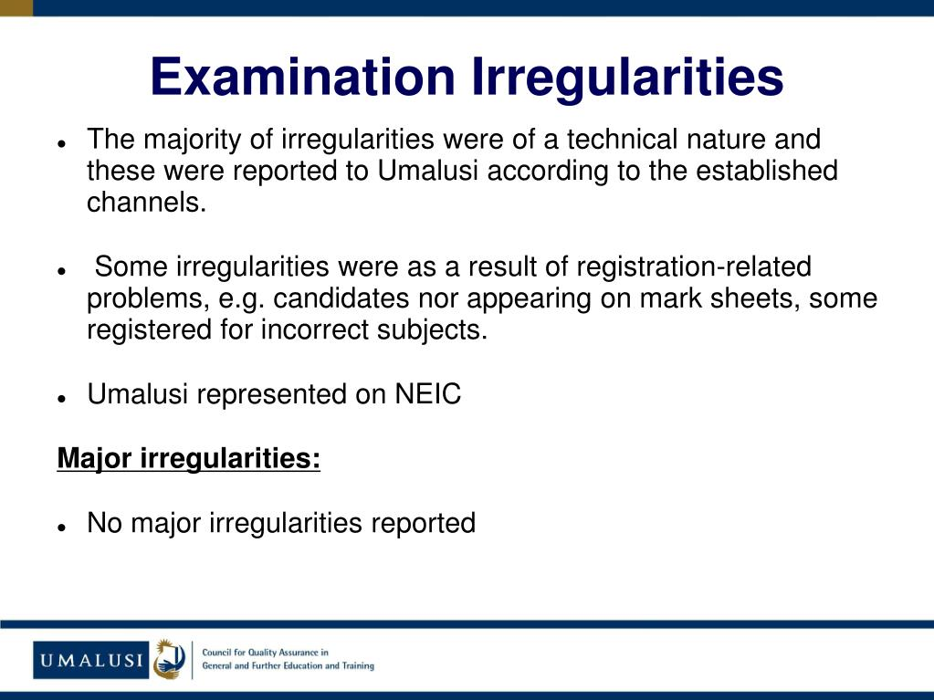 Examination Irregularities