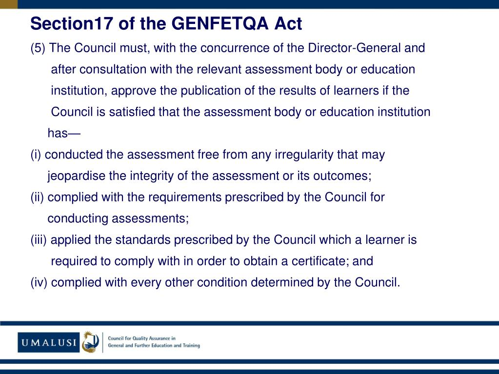 Section17 of the GENFETQA Act