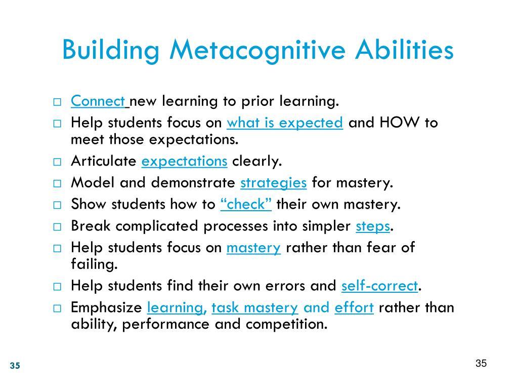 Building Metacognitive Abilities