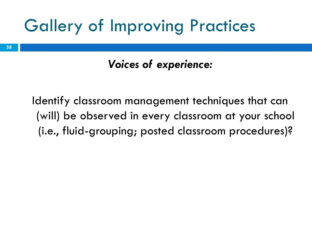 Gallery of Improving Practices