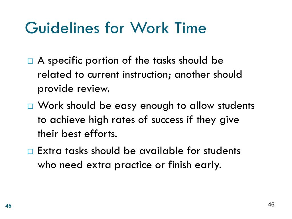 Guidelines for Work Time