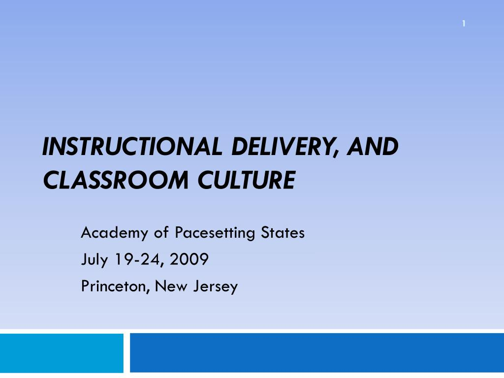 Instructional Delivery, and