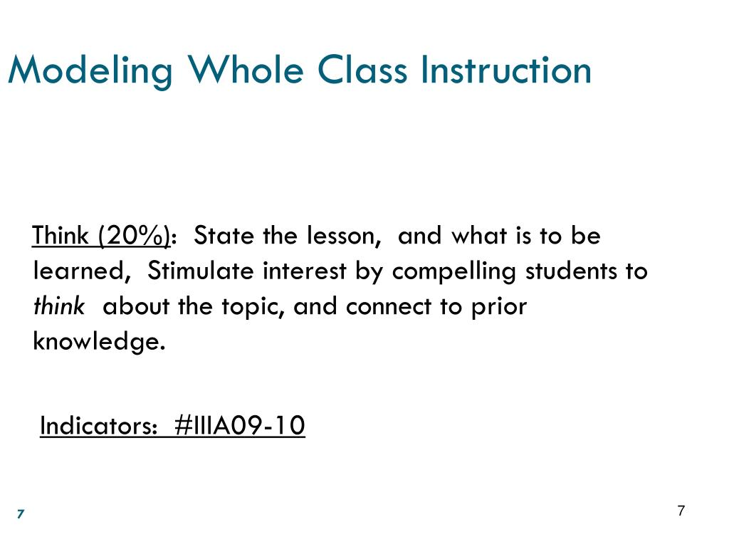 Modeling Whole Class Instruction