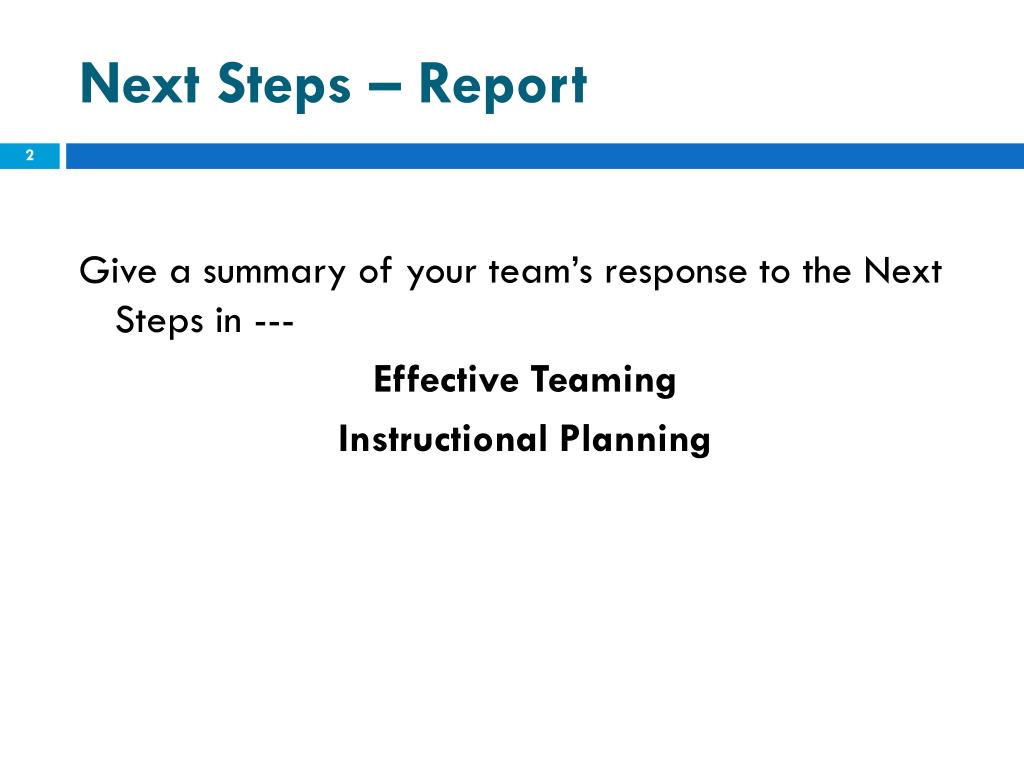 Next Steps – Report