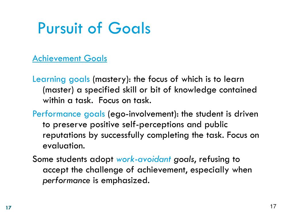 Pursuit of Goals