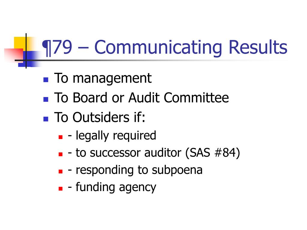 ¶79 – Communicating Results