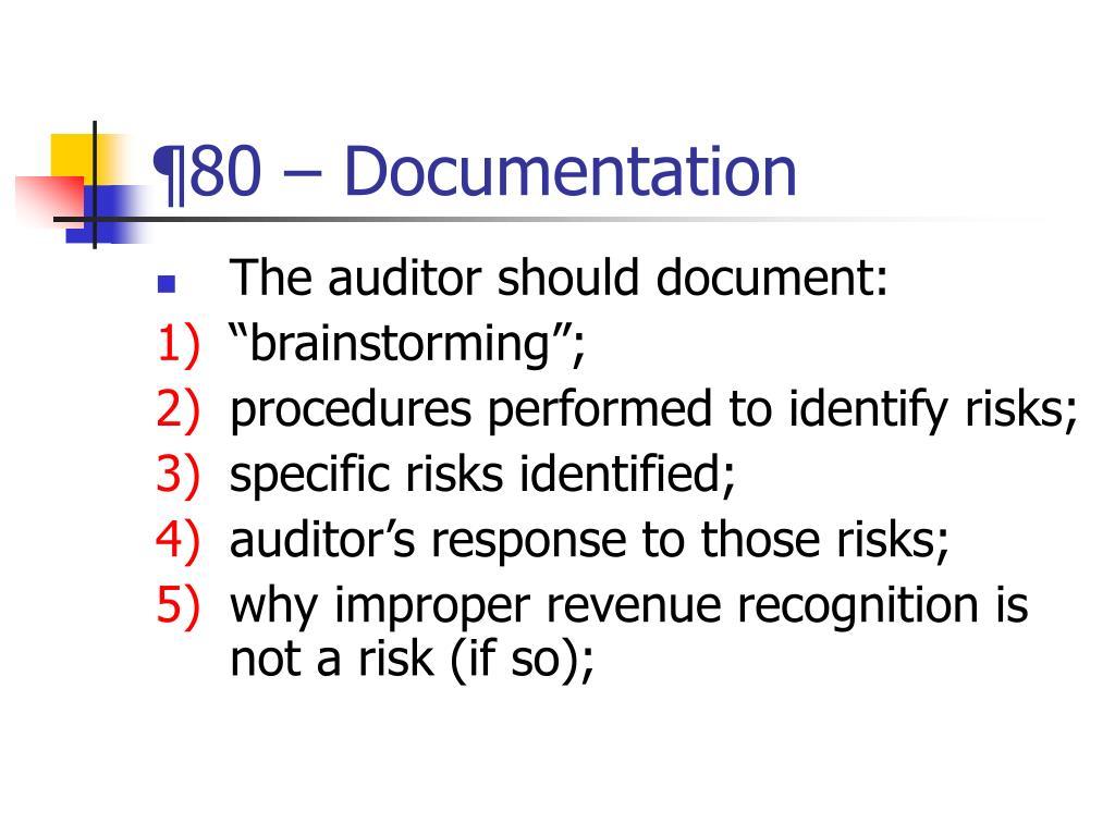 ¶80 – Documentation
