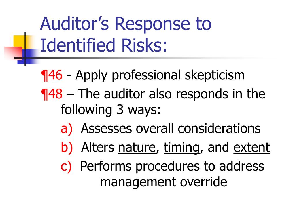 Auditor's Response to Identified Risks: