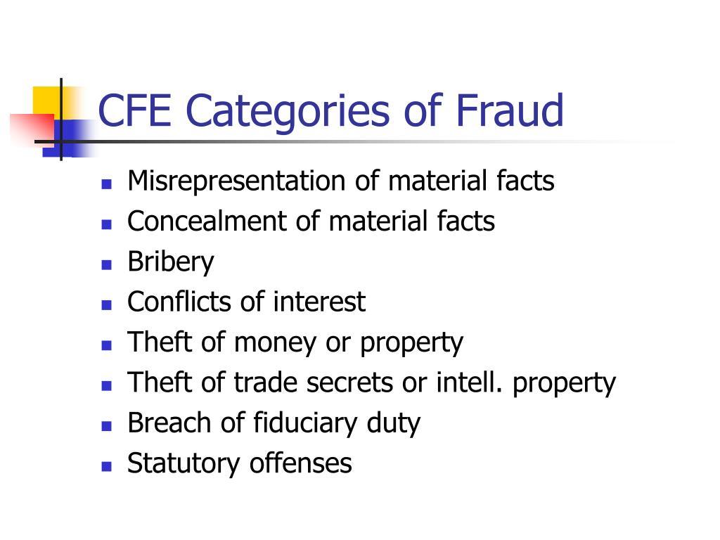CFE Categories of Fraud
