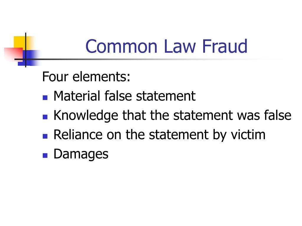 Common Law Fraud