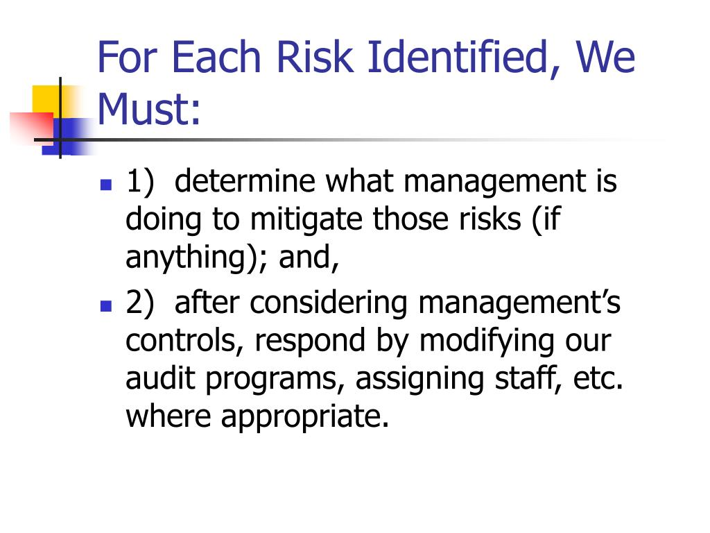 For Each Risk Identified, We Must: