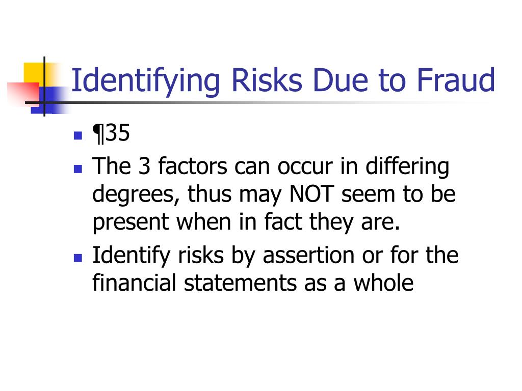 Identifying Risks Due to Fraud