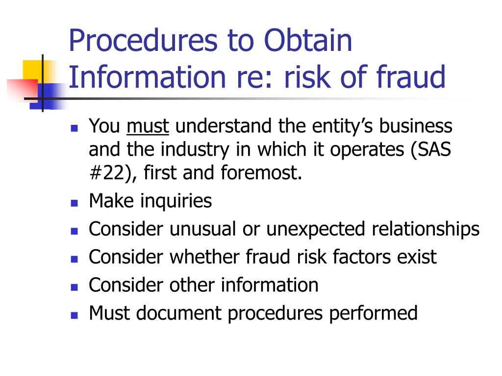 Procedures to Obtain Information re: risk of fraud