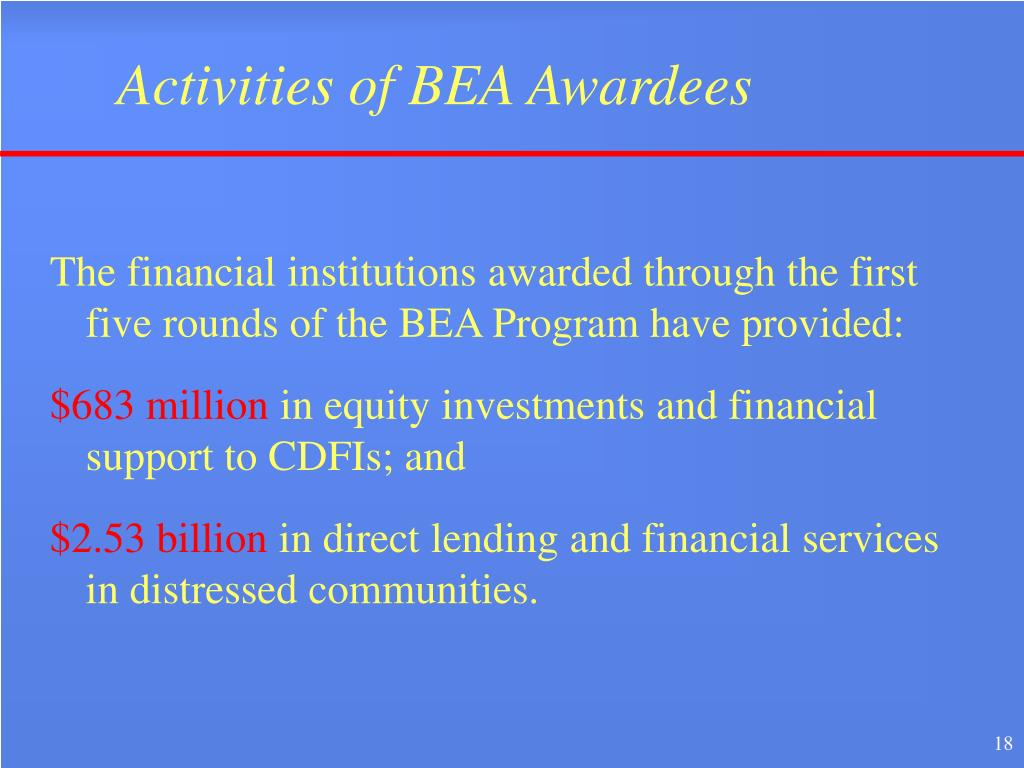 Activities of BEA Awardees
