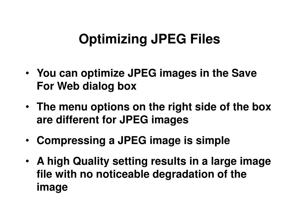 Optimizing JPEG Files