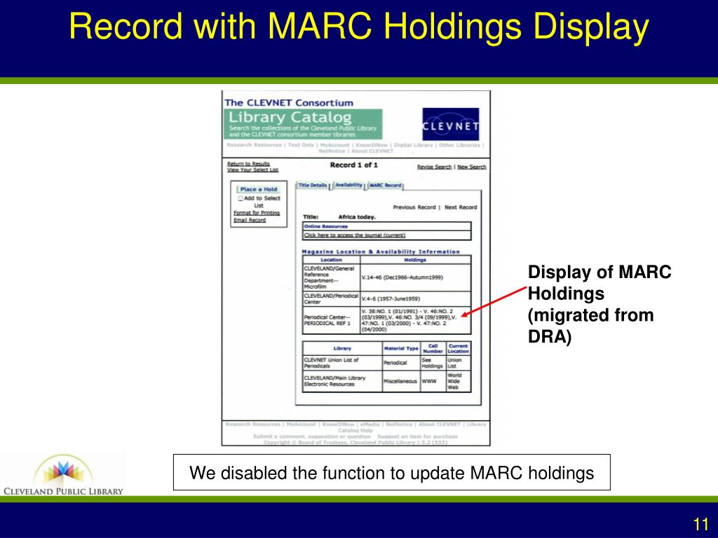 Record with MARC Holdings Display