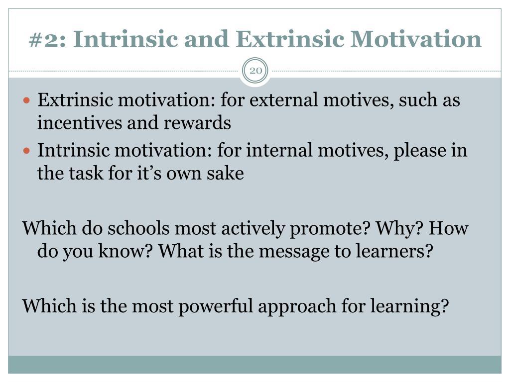#2: Intrinsic and Extrinsic Motivation