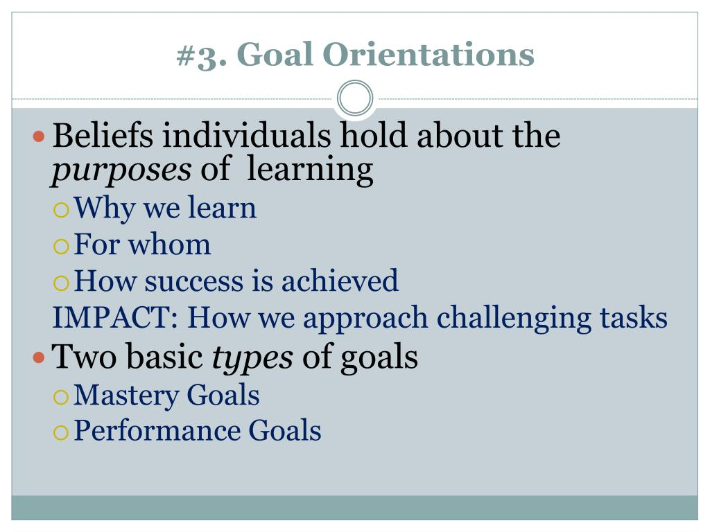 #3. Goal Orientations