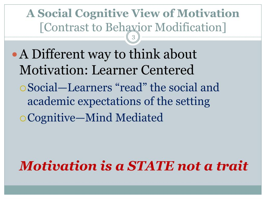 A Social Cognitive View of Motivation