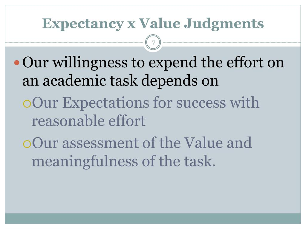 Expectancy x Value Judgments