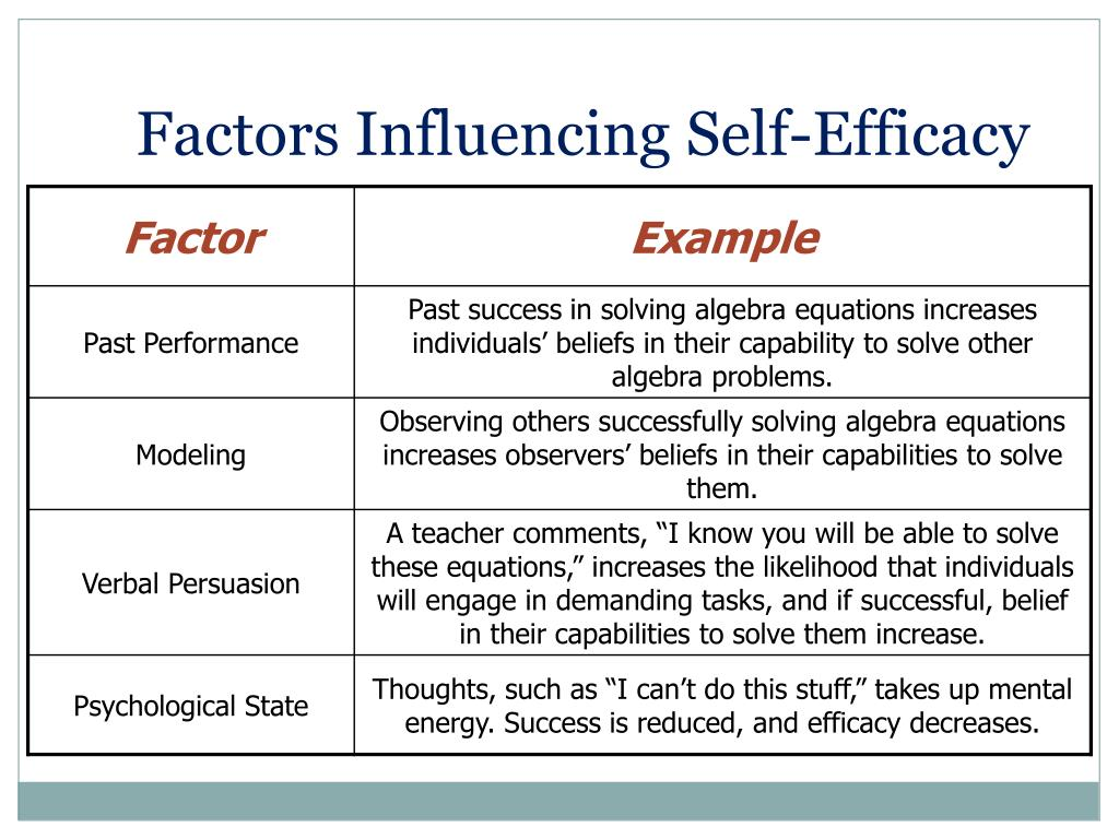 Factors Influencing Self-Efficacy