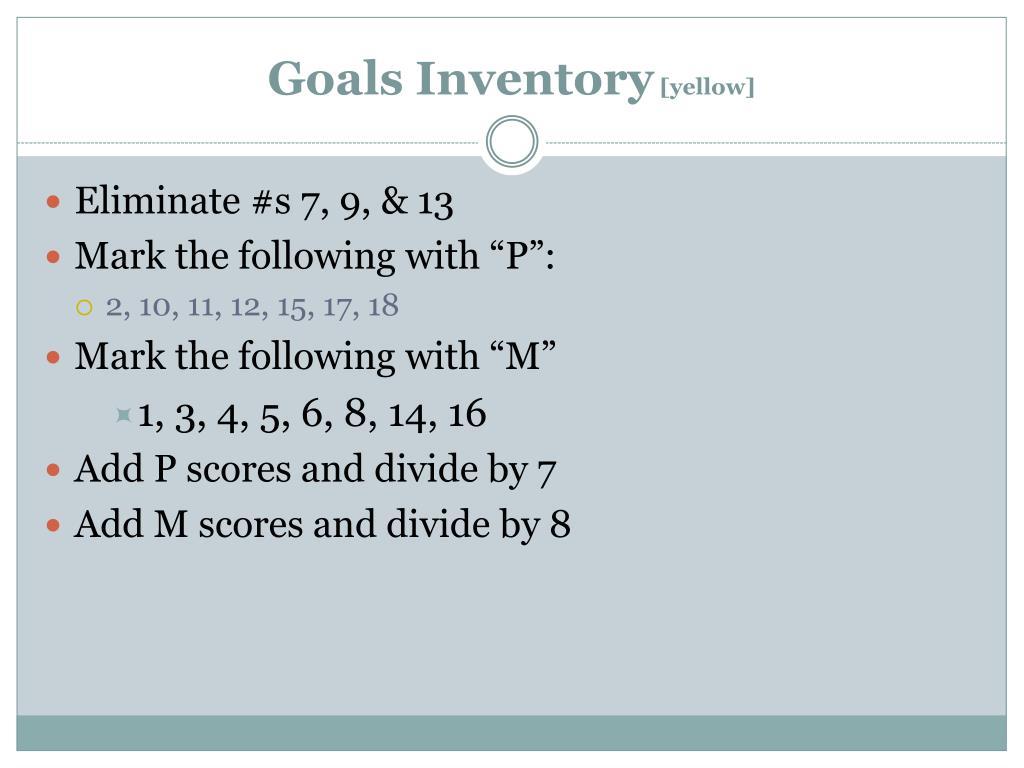 Goals Inventory