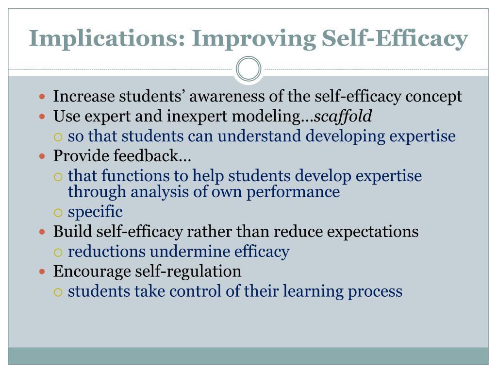 Implications: Improving Self-Efficacy
