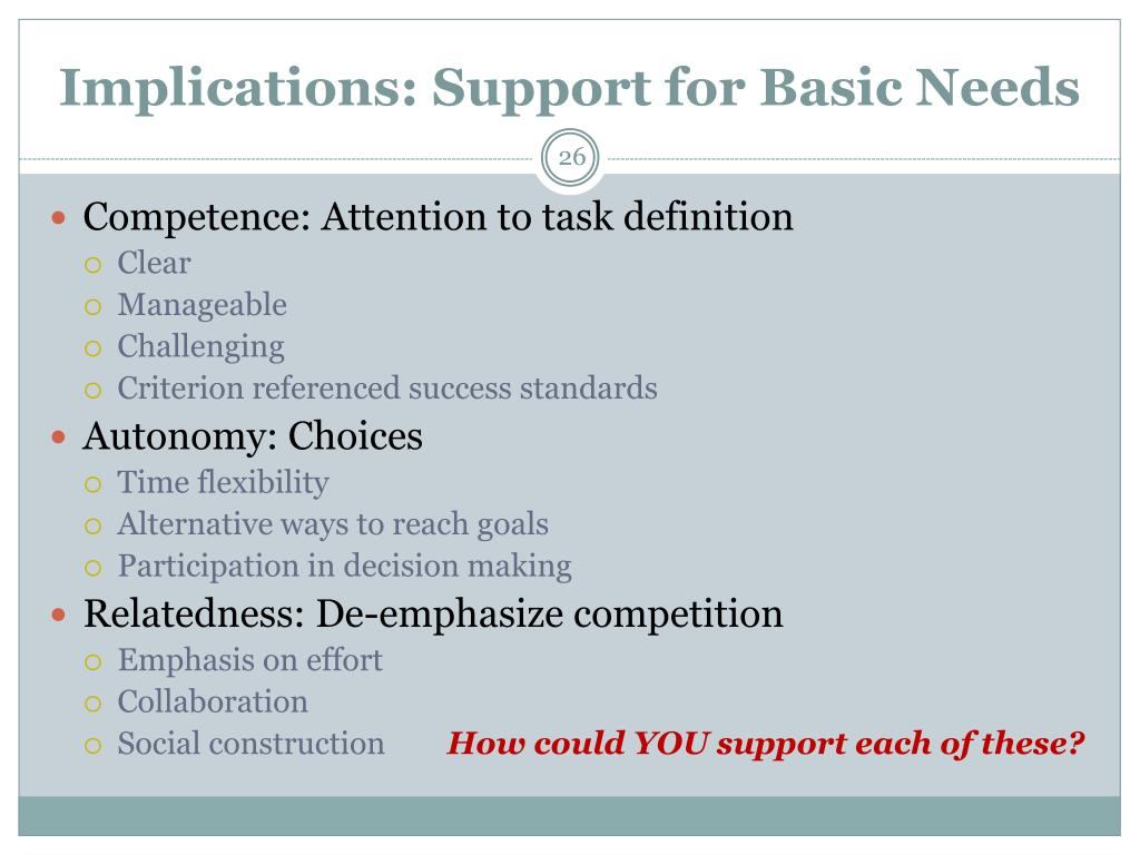Implications: Support for Basic Needs