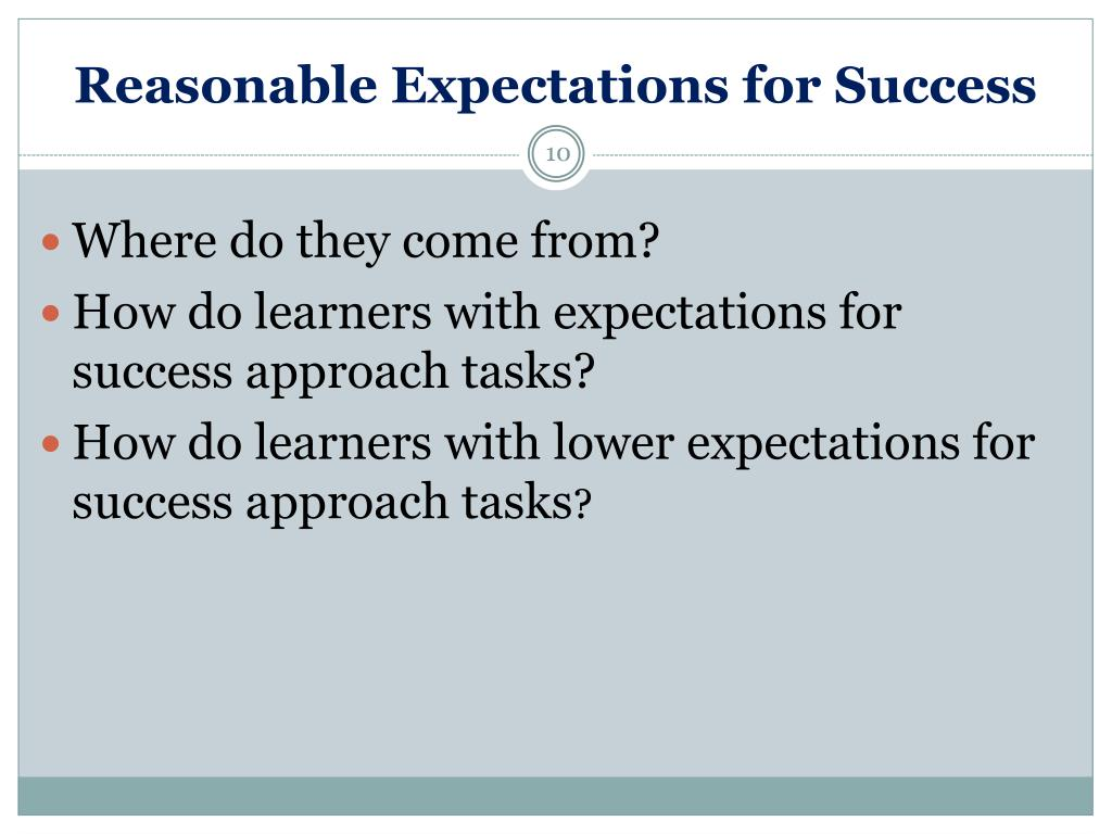 Reasonable Expectations for Success