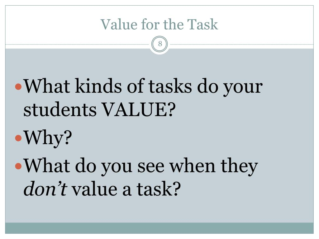 Value for the Task