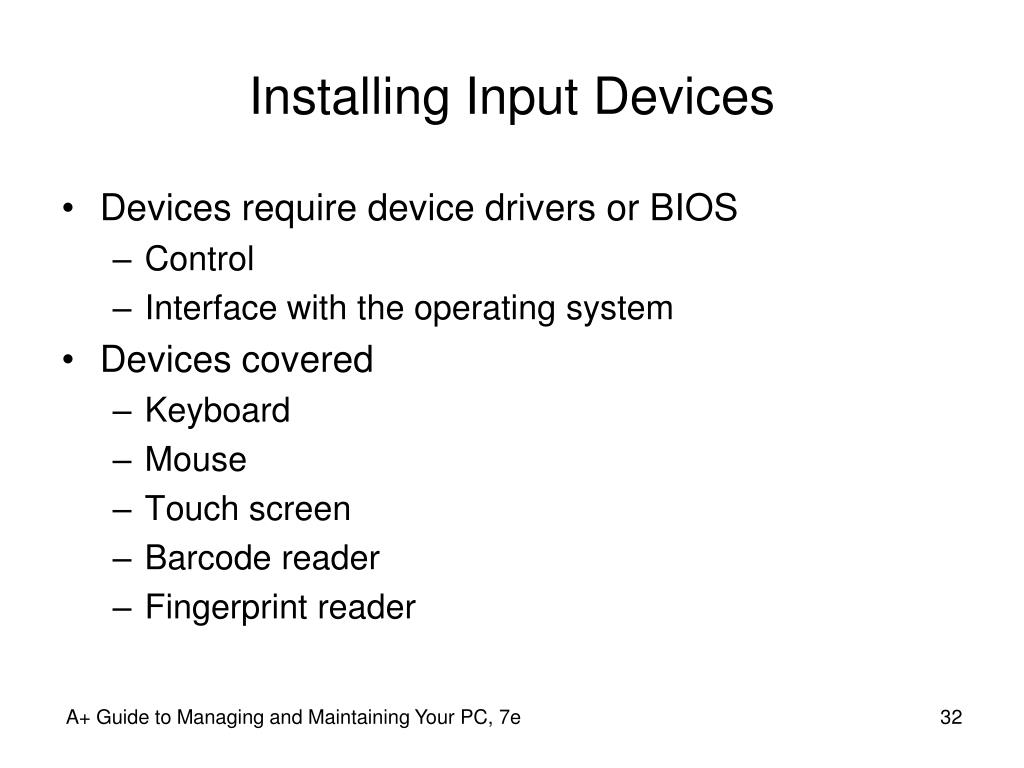 Installing Input Devices