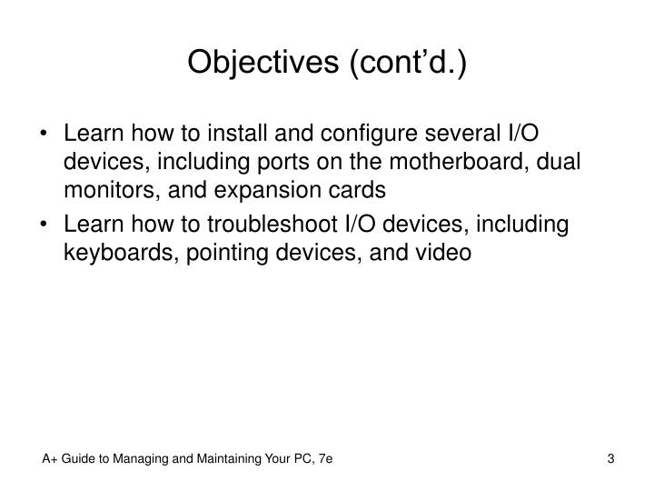 Objectives cont d