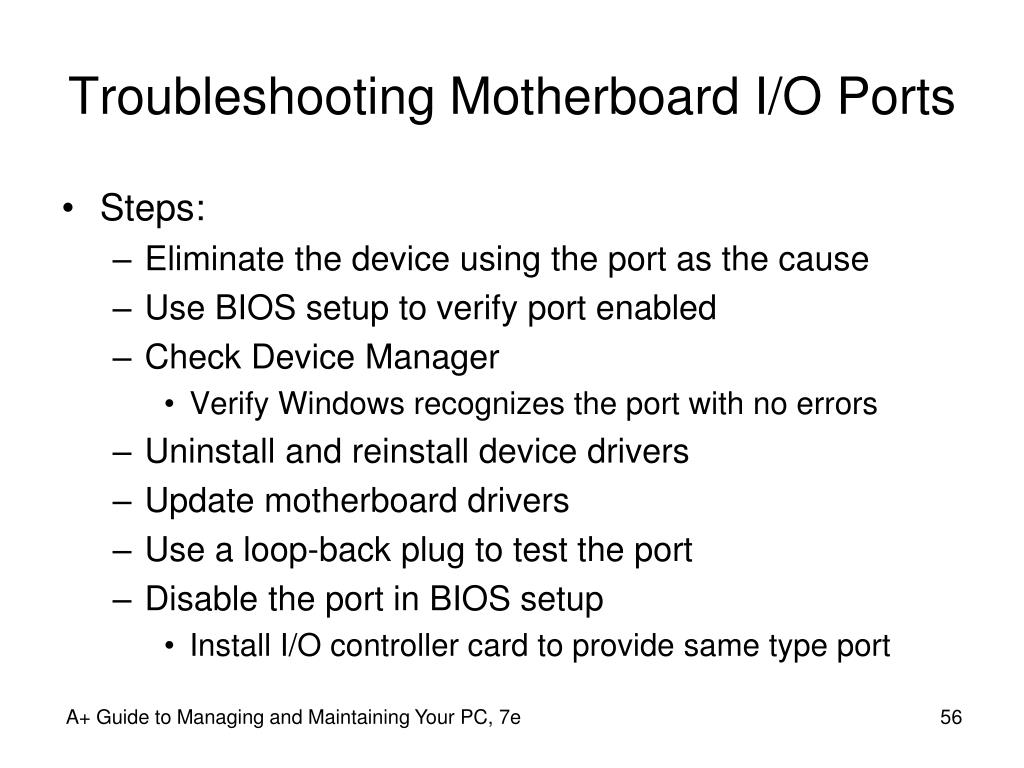 Troubleshooting Motherboard I/O Ports