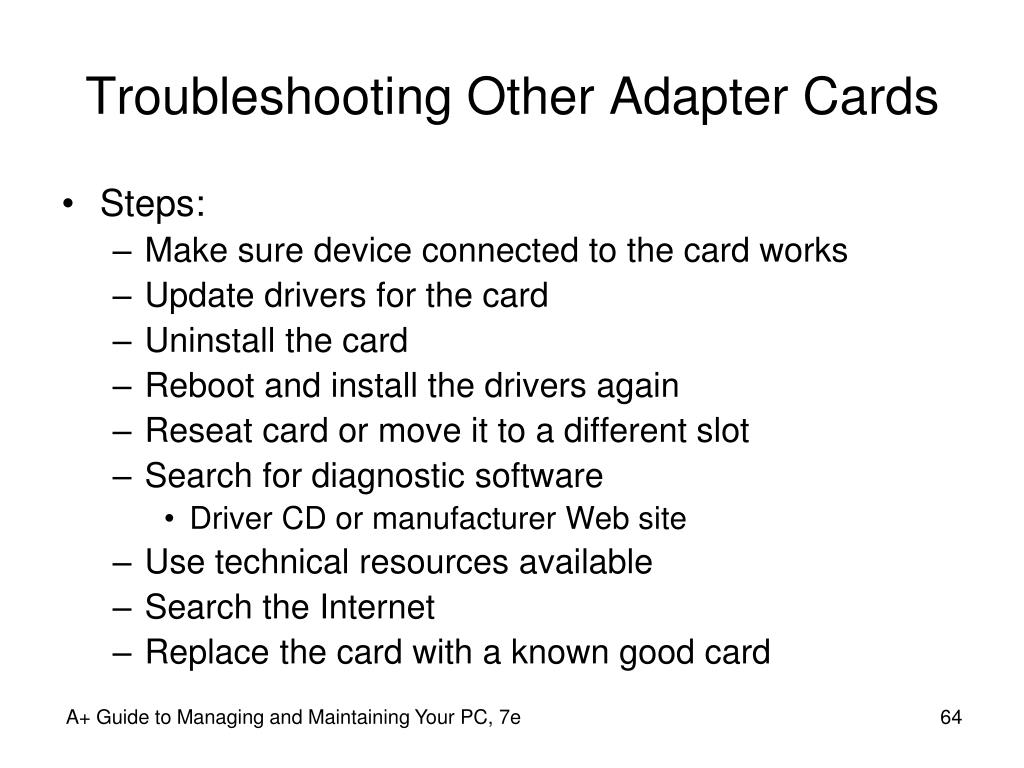 Troubleshooting Other Adapter Cards