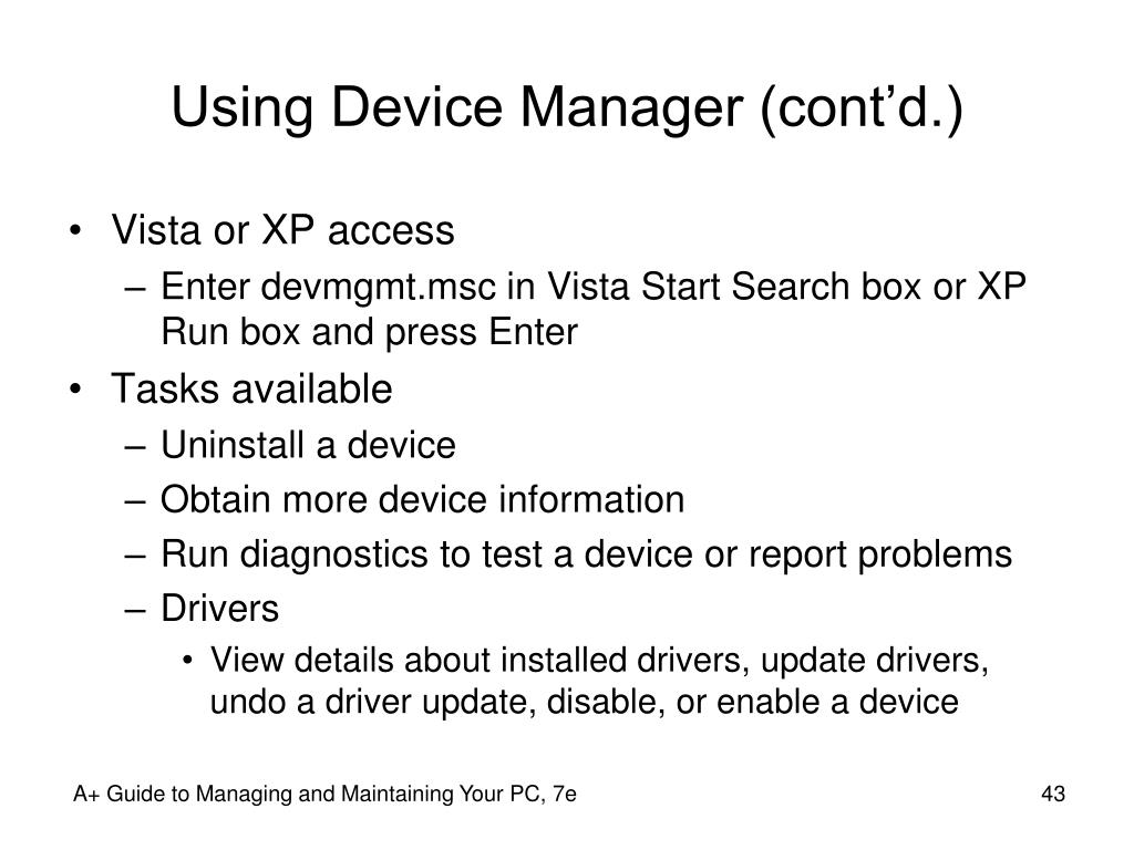 Using Device Manager (cont'd.)
