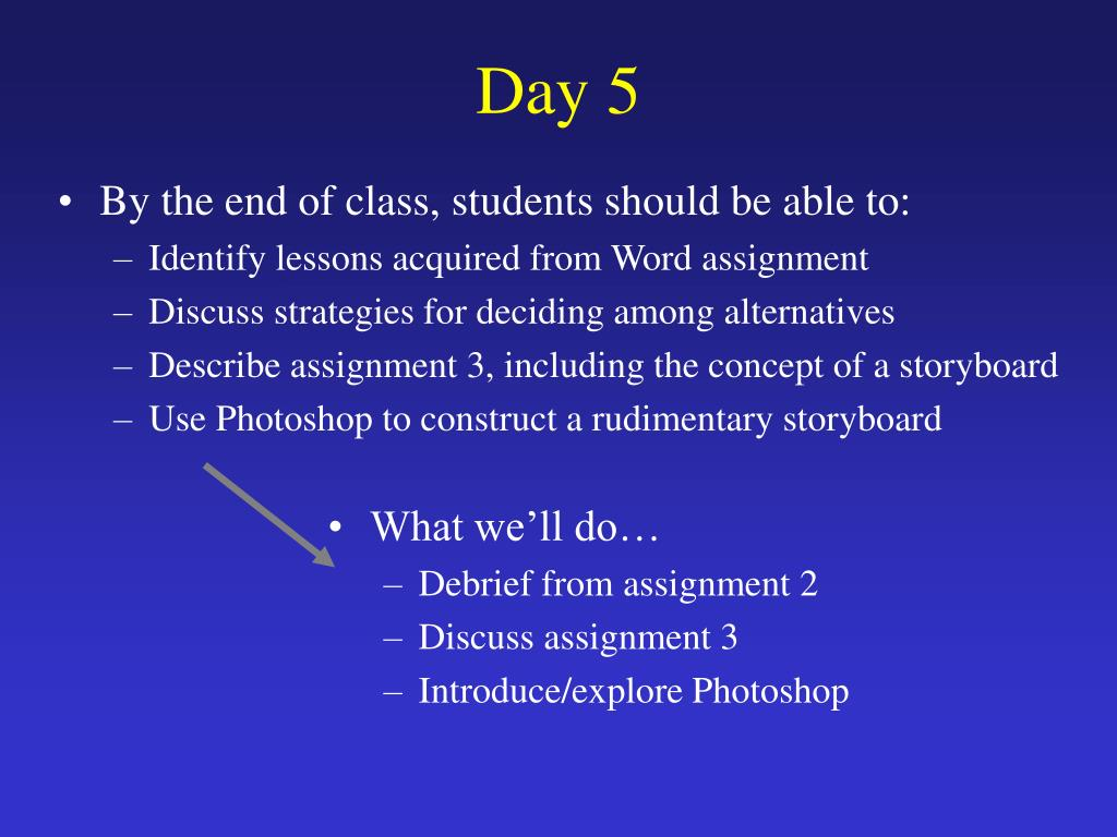By the end of class, students should be able to: