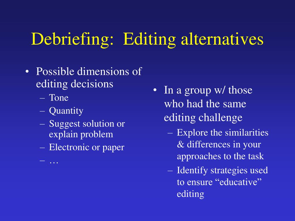 Possible dimensions of editing decisions