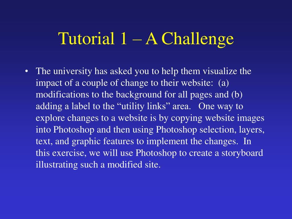 Tutorial 1 – A Challenge