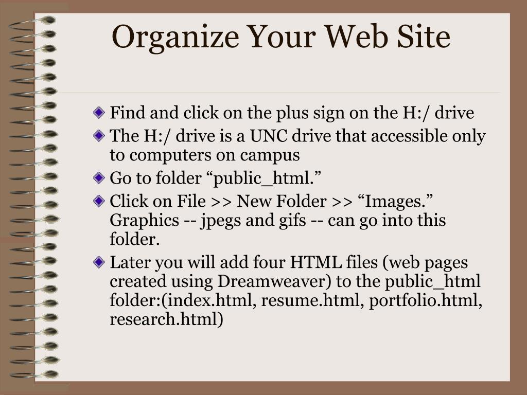 Organize Your Web Site