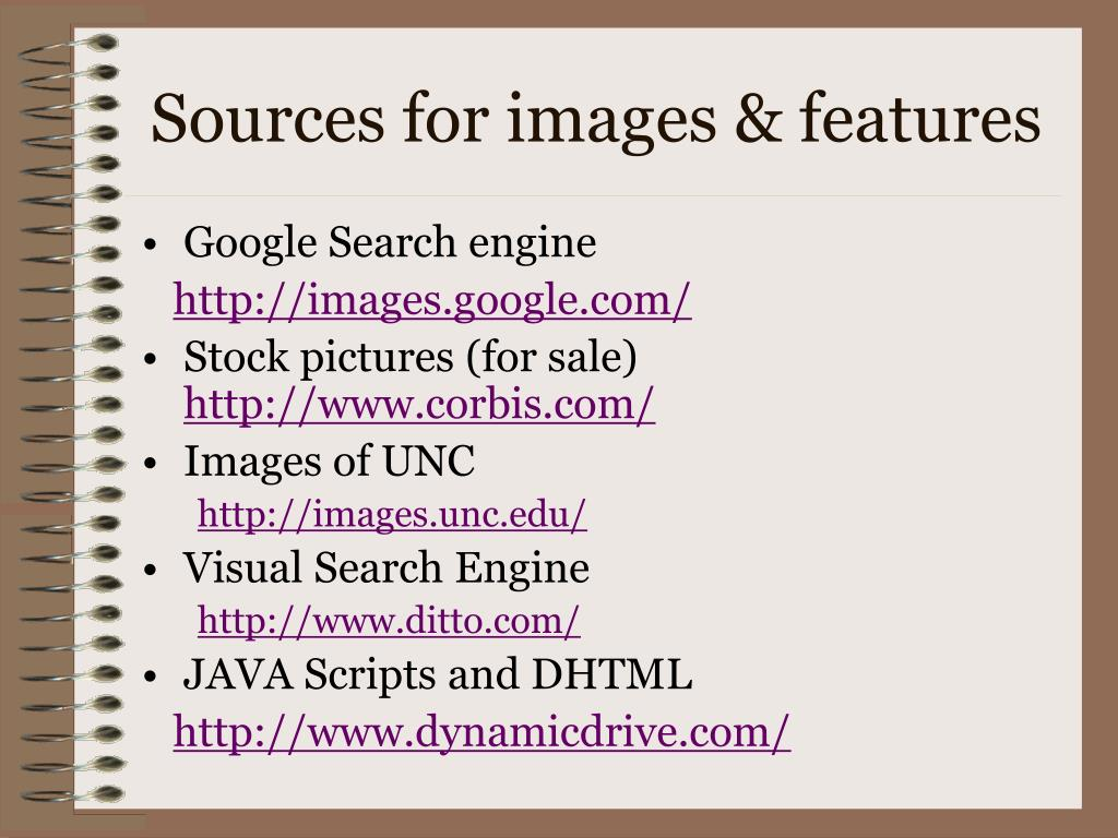 Sources for images & features