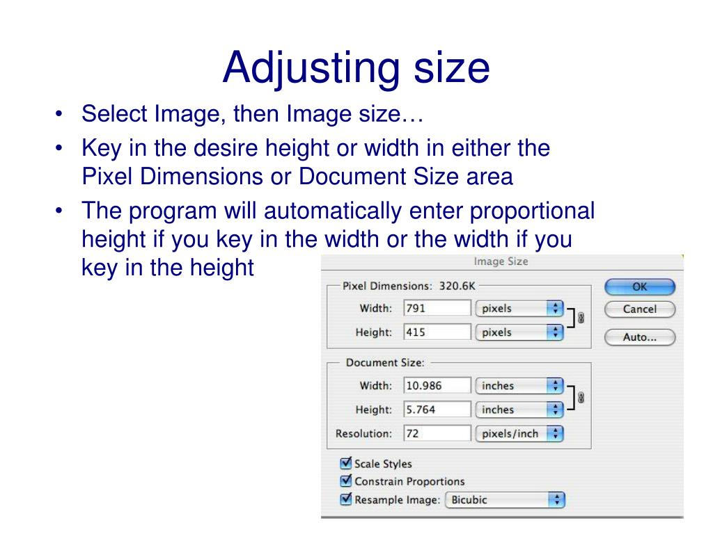 Select Image, then Image size…