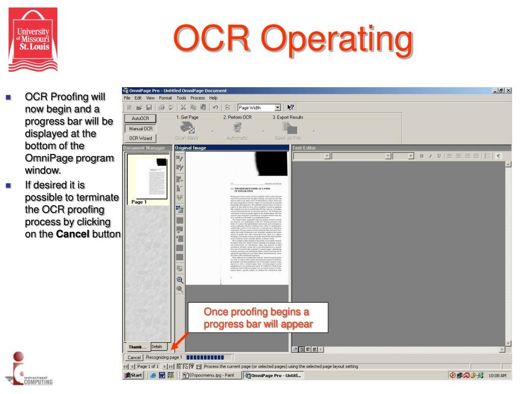 OCR Operating