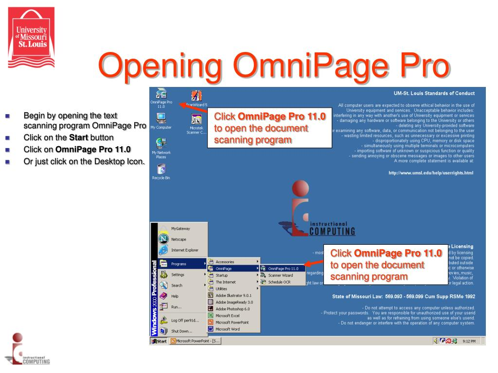 Opening OmniPage Pro
