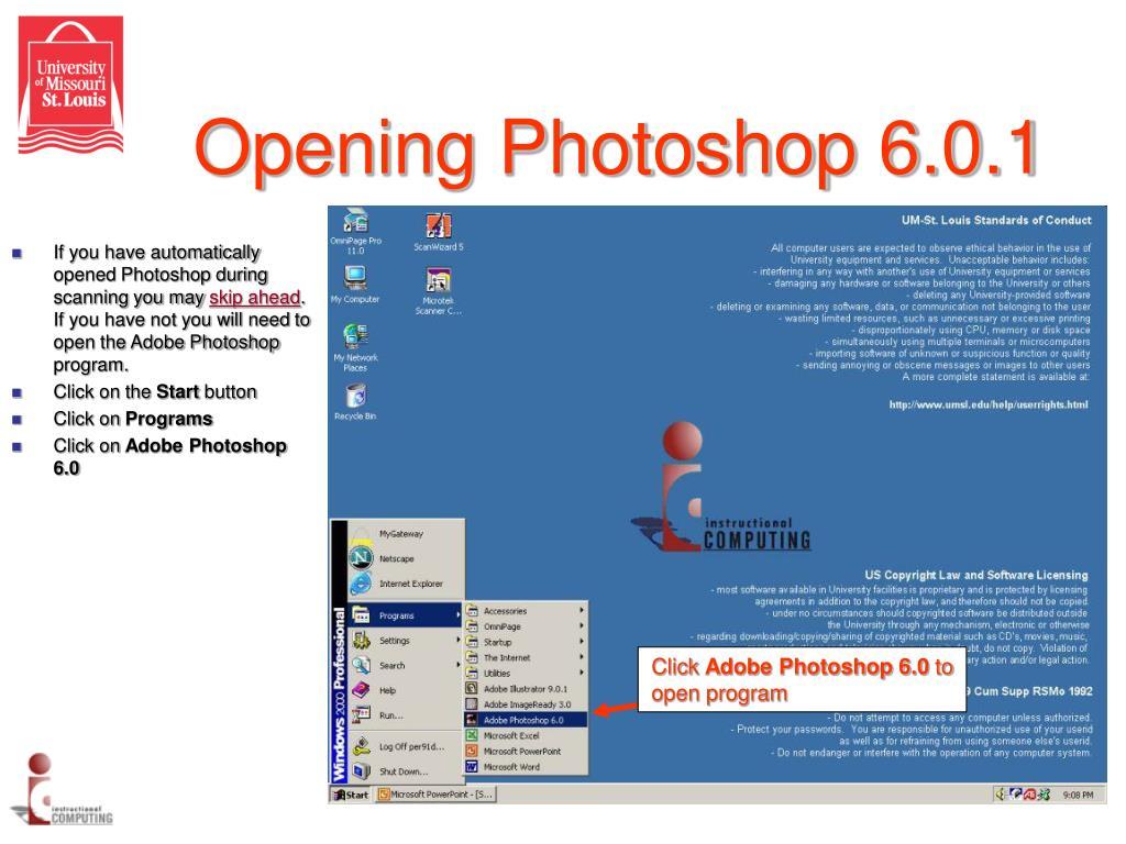Opening Photoshop 6.0.1
