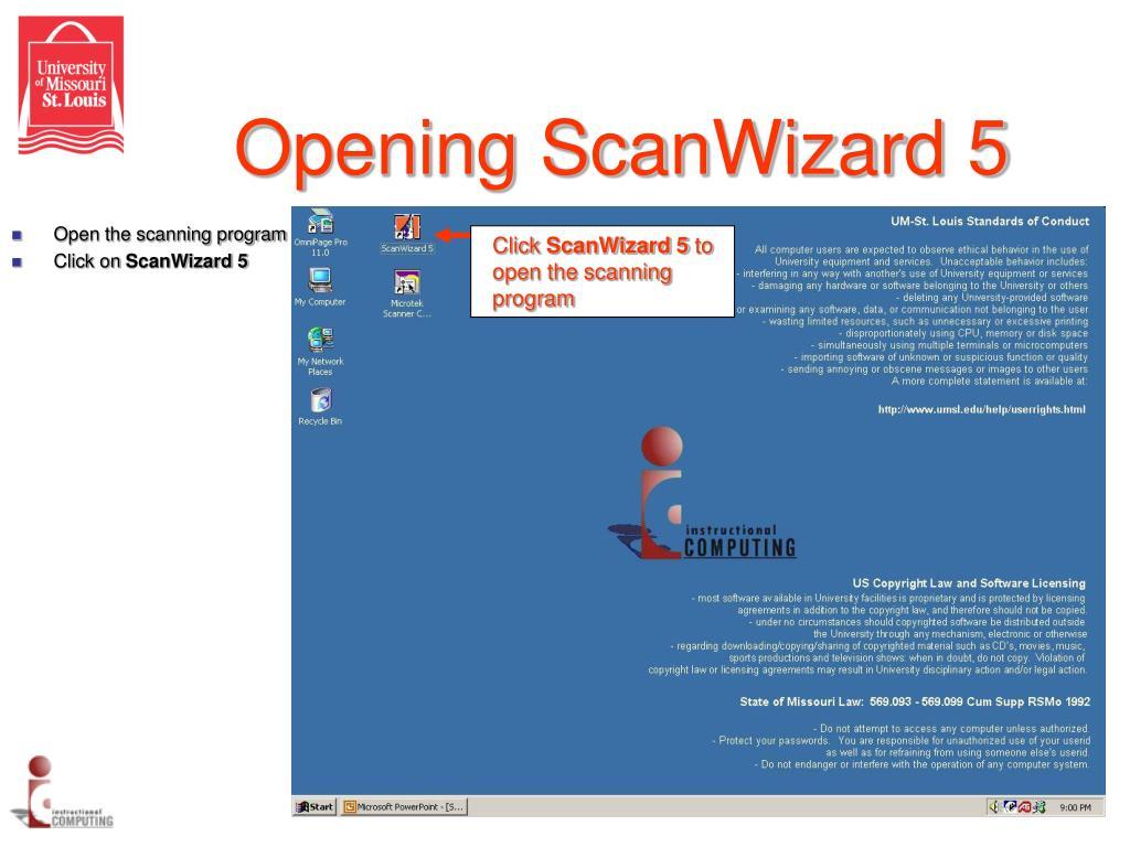Opening ScanWizard 5