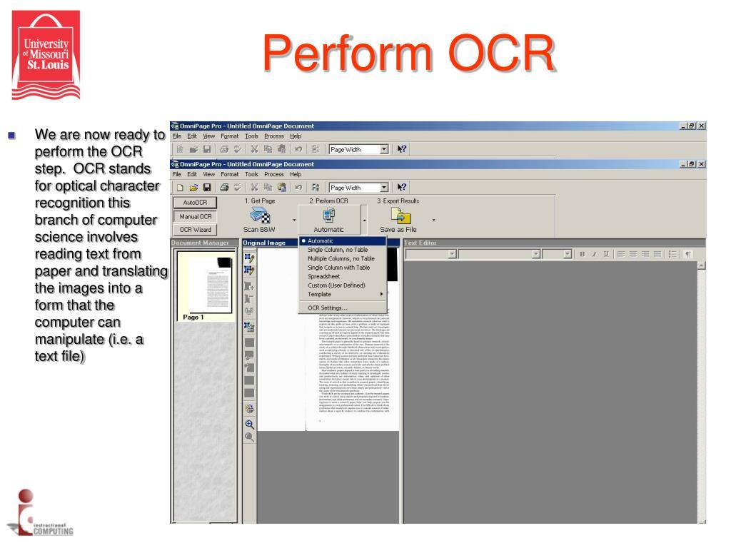 Perform OCR