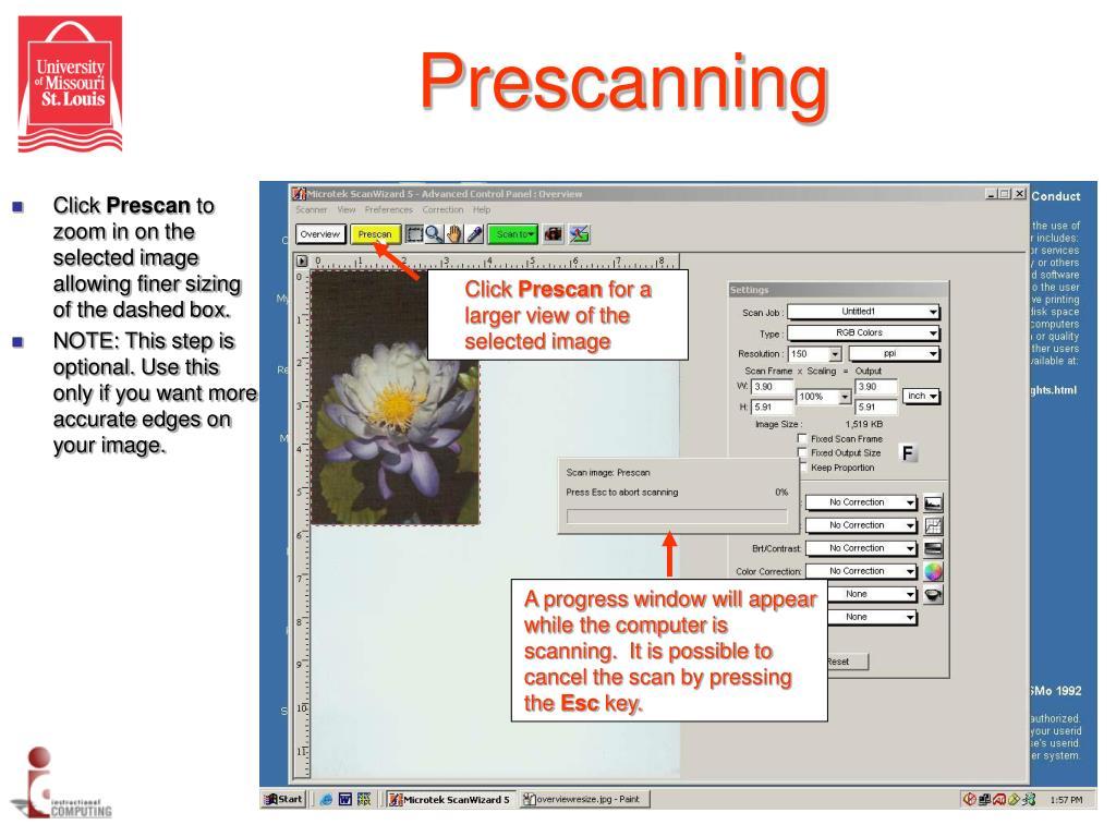 Prescanning