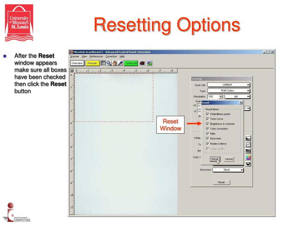Resetting Options