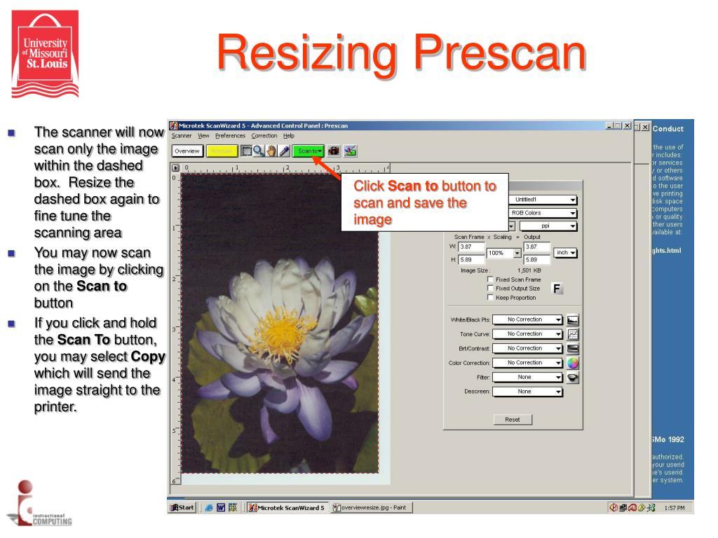 Resizing Prescan