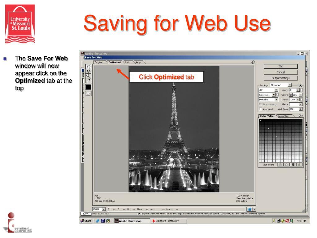 Saving for Web Use
